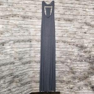 Bella Luxx Blue Gray Stripe Racerback Maxi Dress